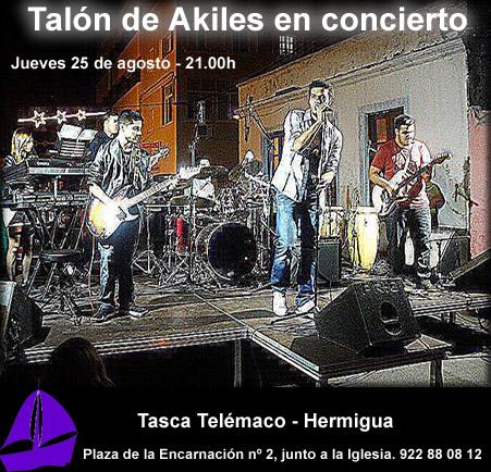 Actuación jueves 25 a las 21.00 horas de Talón de Akiles